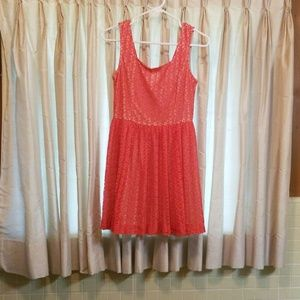 Coral lace mini dress
